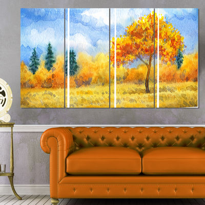 Designart Yellow Trees Watercolor Painting Landscape CanvasPrint - 4 Panels