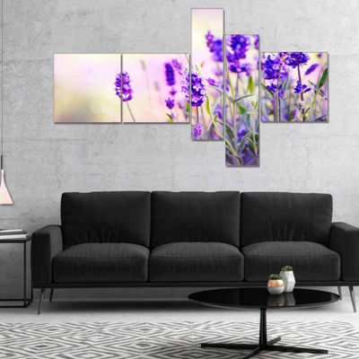 Designart Purple Lavender Field Floral PhotographyCanvas Art Print - 5 Panels
