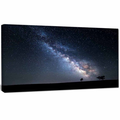 Designart Summer Night With Stars In Crimea Landscape Photography Canvas Print