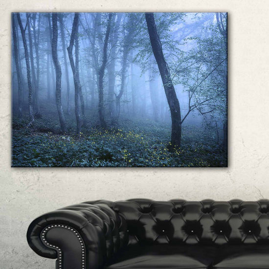 Designart Trail Through Blue Fall Forest LandscapePhoto Canvas Art Print