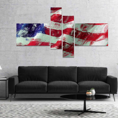 Design Art USA Flag Abstract Map & Flag Canvas Art Print - 4 Panels