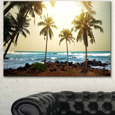 Designart Rocky Tropical Beach With Palms SeashoreCanvas Art Print