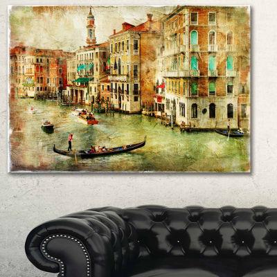 Design Art Vintage Venice Digital Art Landscape Canvas Print