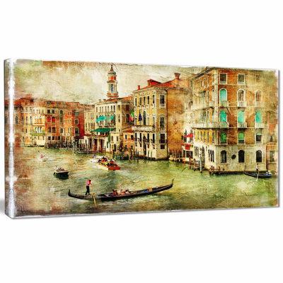 Designart Vintage Venice Digital Art Landscape Canvas Print