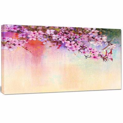 Designart Watercolor Painting Cherry Blossoms Floral Canvas Art Print