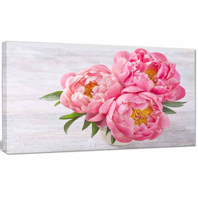 Designart Bunch Of Peony Flowers In Vase Canvas Art Print