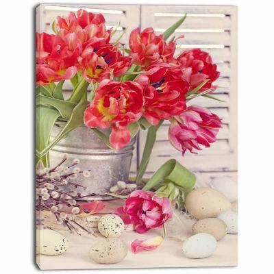 Design Art Tulip Flowers And Easter Eggs Canvas Art Print