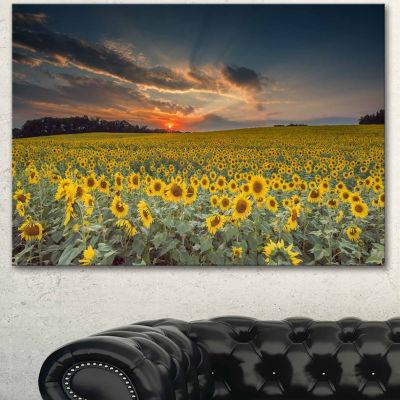 Design Art Sunflower Sunset With Cloudy Sky Landscape Canvas Art