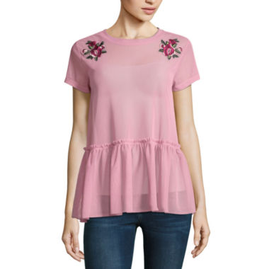 Arizona Mesh Peplum Top- Juniors