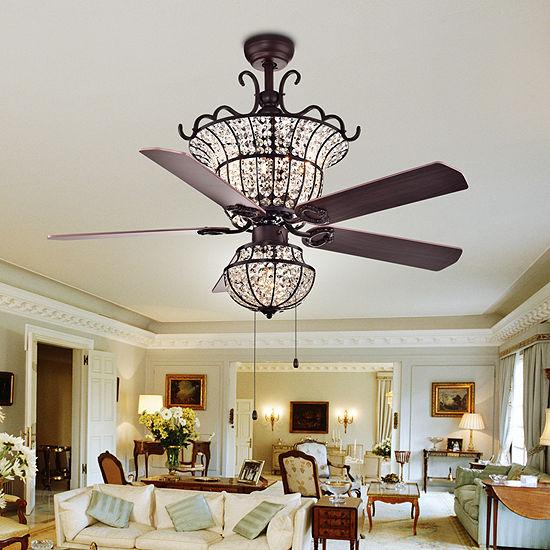 Charla 4-light Crystal 52-inch Chandelier Ceiling Fan