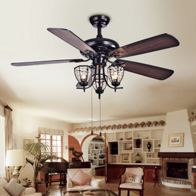 Mirabelle 3-light 5-blade 52-inch Black Metal and Crystal Lighted Ceiling Fan