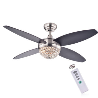 Harvin 4-Blade 2-Light Wood Satin Nickel Crystal Ceiling Fan