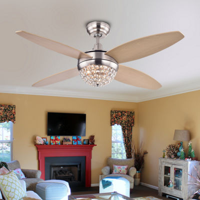 Balavis Wood Nickel Crystal Ceiling Fan