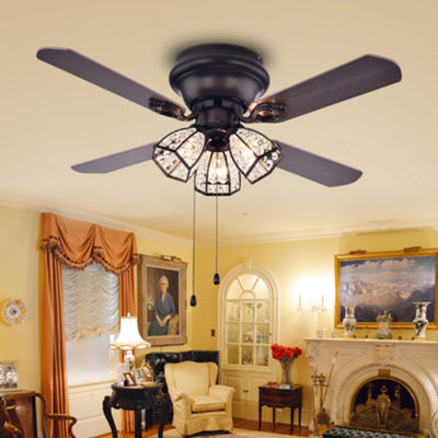 Tarudor Dark Wood Antique Bronze Crystal Fan