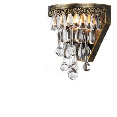 Delser Antique Brass Draping Crystal Sconce
