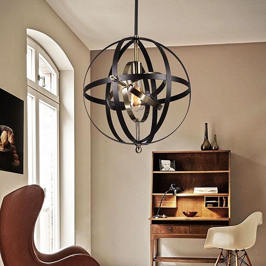 Vaydin 1 Light Pendant Mixed Strap Bronze Globe Includes Edison Bulb