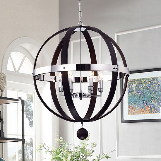 Nisa Brown Metal And Chrome 25 Inch Round Chandelier