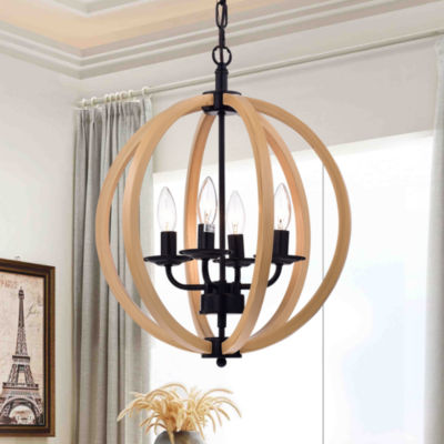 Fedelmid Black Finish Natural Wood 16-inch Round Pendant Lamp