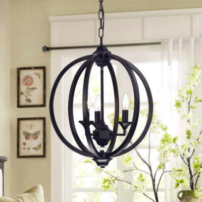 Birgir Black Metal 17-inch Round Pendant Lamp
