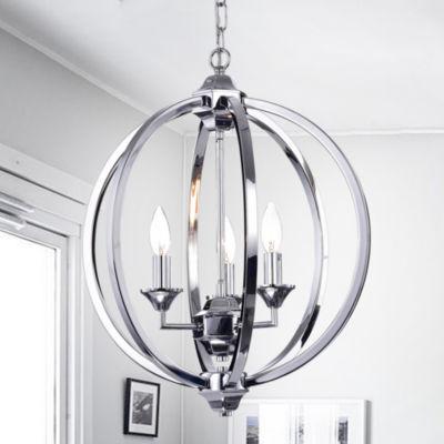 Birgir Chrome Metal 17-inch Round Pendant Light