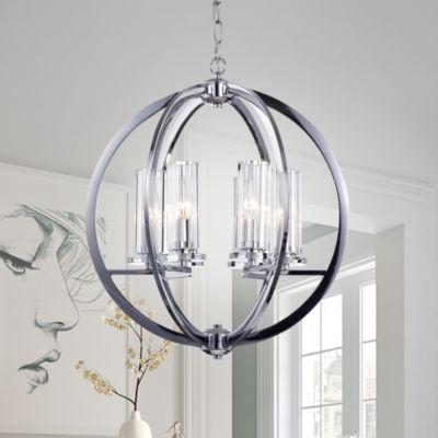 Nithya Chrome 19-inch Round Pendant Light
