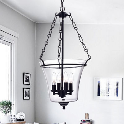 Reagan Antique Black Metal and Glass Jar-Shaped Pendant Light Fixture (15 in.)
