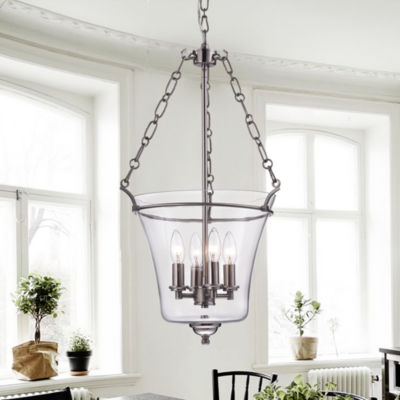 Reagan Nickel and Glass Jar-Shaped Pendant Light Fixture (15 in.)
