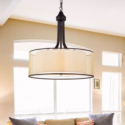 Taylor Antique Bronze with Off-white Fabric Shade20-inch Pendant Lamp