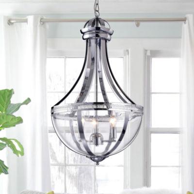 Ariadna Chrome and Glass 16-inch Half Dome Pendant
