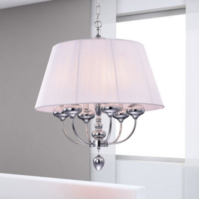 Zonia Chrome and Pink 23-inch Round Pendant LIght
