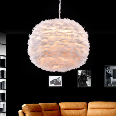 Life White Feather and Chrome 18-inch Pendant Lamp