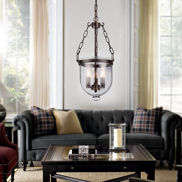 Hontiveria Black and Gold-tone Metal and Glass Chandelier