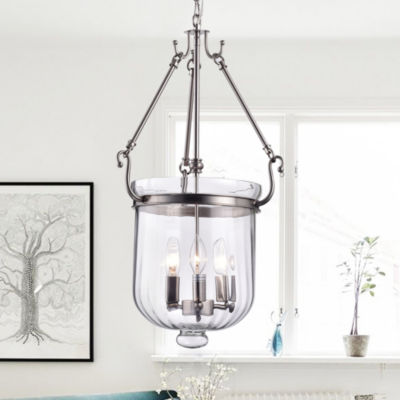Winfield Nickel 14-inch Pendant with Clear Glass Shade