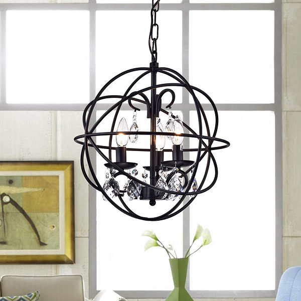 Tess Black-finish Metal/ Crystal 15-inch Round Crystal Chandelier