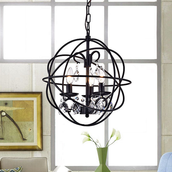 Tess Black Finish Metal Crystal 15 Inch Round Crystal Chandelier