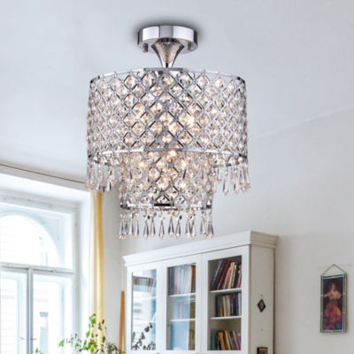 Anika Chrome-finish 12-inch Crystal Semi-flush Mount Chandelier