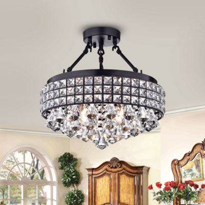 Daya Antique Bronze Crystal/ Metal 15-inch Semi-flush Mount Lamp