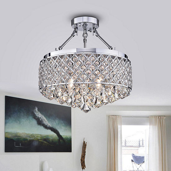 Viola Chrome-finish Crystal 15-inch Semi-flush Lamp