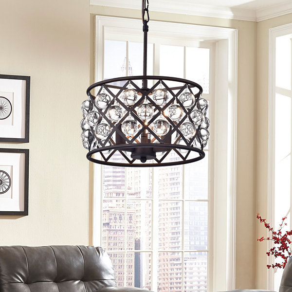 Branna Antique Bronze 11-inch Round Crystal Chandelier