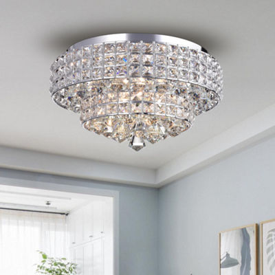 Filmarsh Two-Tiered Crystal Chrome Ceiling Lamp