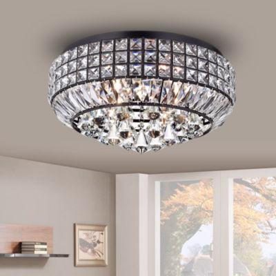 Pamarin Round Crystal Antique Black Flush Mount Ceiling Light