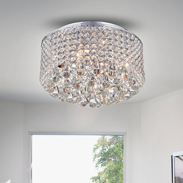 Gunslid Chrome Crystal Circle Ceiling Lamp