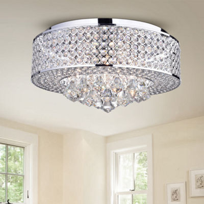 Wendu Chrome 17-inch Round Crystal Lamp