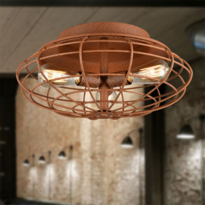 Azranna Speckled Copper Cage Ceiling Lamp with Bulbs