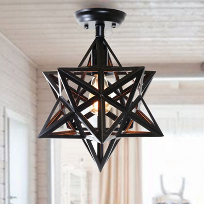 Darkstar 1-Light Edison Antique Bronze Geomtric Ceiling Lamp (Includes Buljb)
