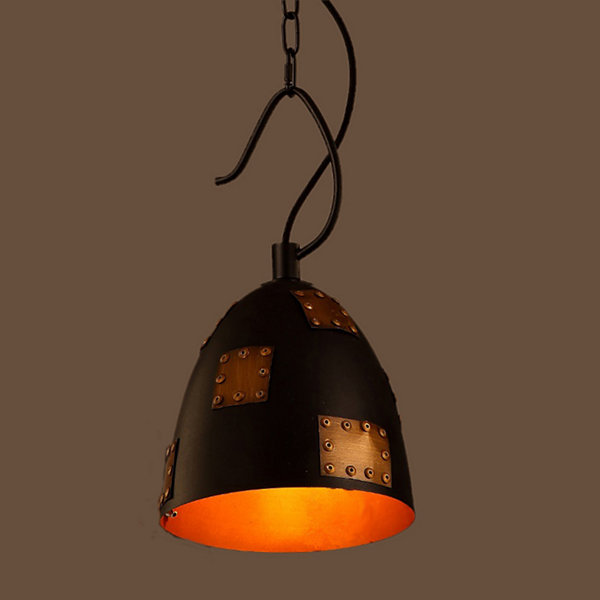 Osman Antique Bronze Patched Black 12-inch Hooded Pendant Lamp