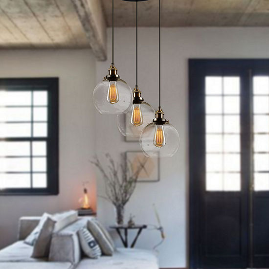 Lupilla 3 Light Pendant Mixed Black And Bronze Metal With Glass Shades With Included Edison Bulbs