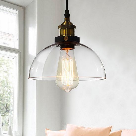 Kolvr 1-Light Bronze Glass Dome Pedant Edison Light (Includes Bulb)