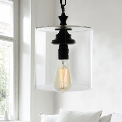 Kostro 1-Light Bronze and Glass Edison Style Lamp(Includes Bulb)