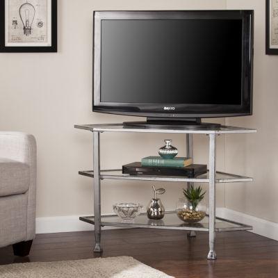 Modern Life Furniture Nathan Metal/Glass Corner TV Stand